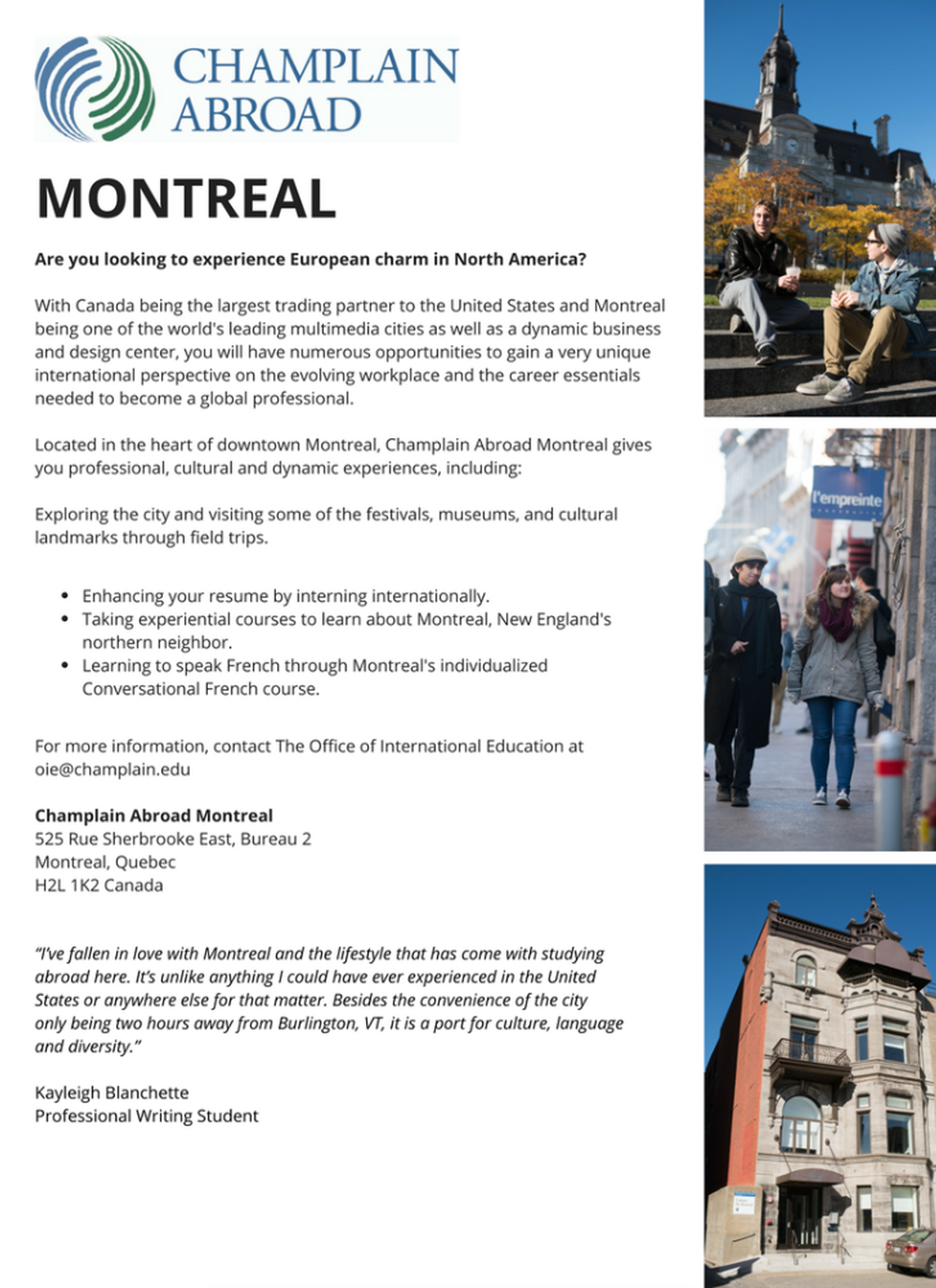 Montreal Brochure Text