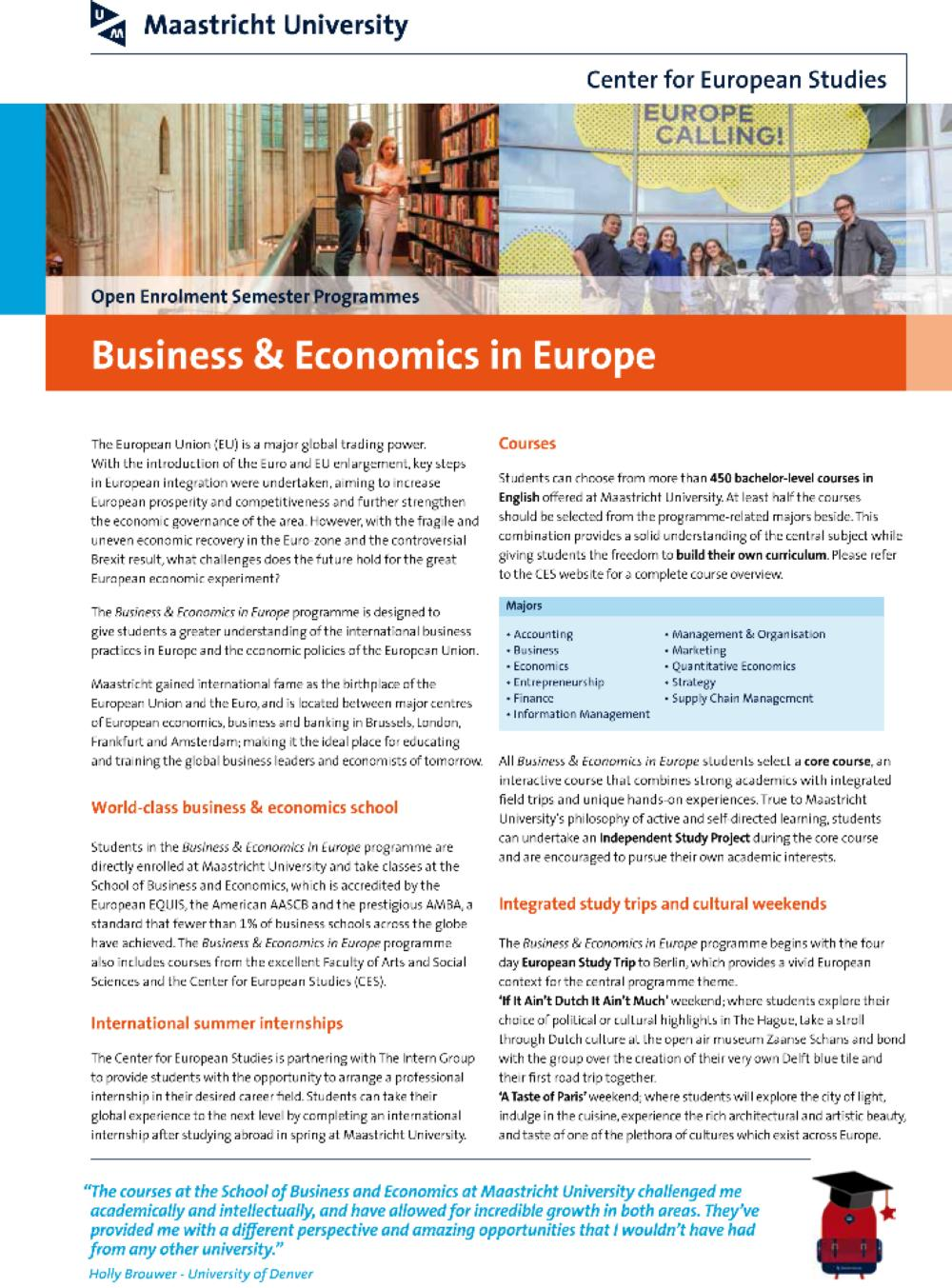 Business & Economics in Europe