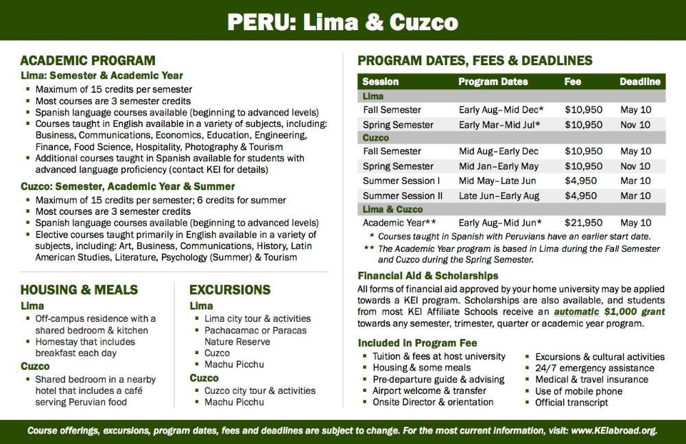 Peru Flyer 2018 (Side 2)