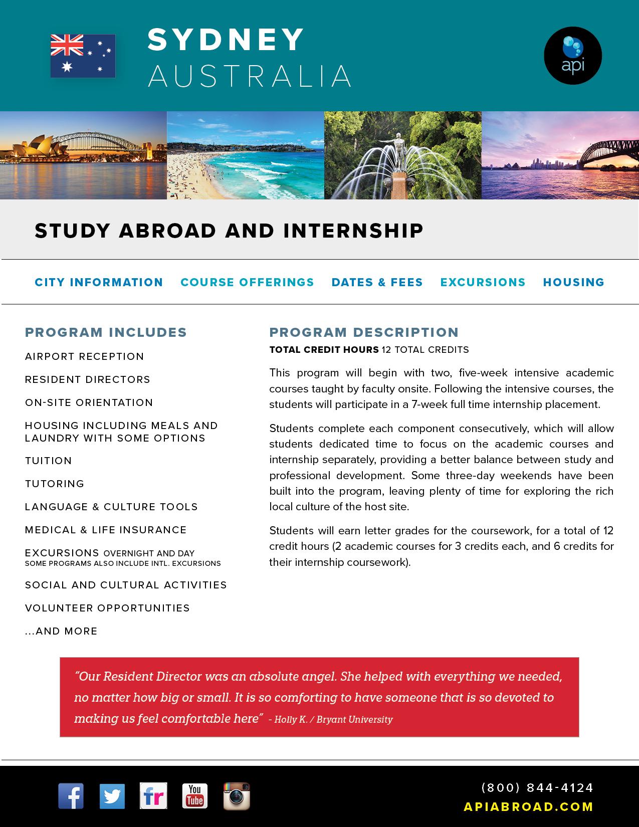 Study Abroad and Intern Sydney