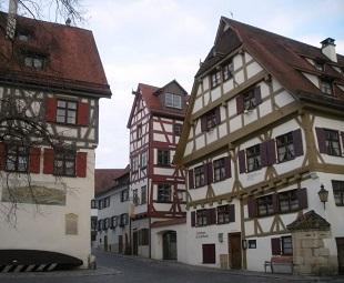 A view of traditional German architecture from a city street