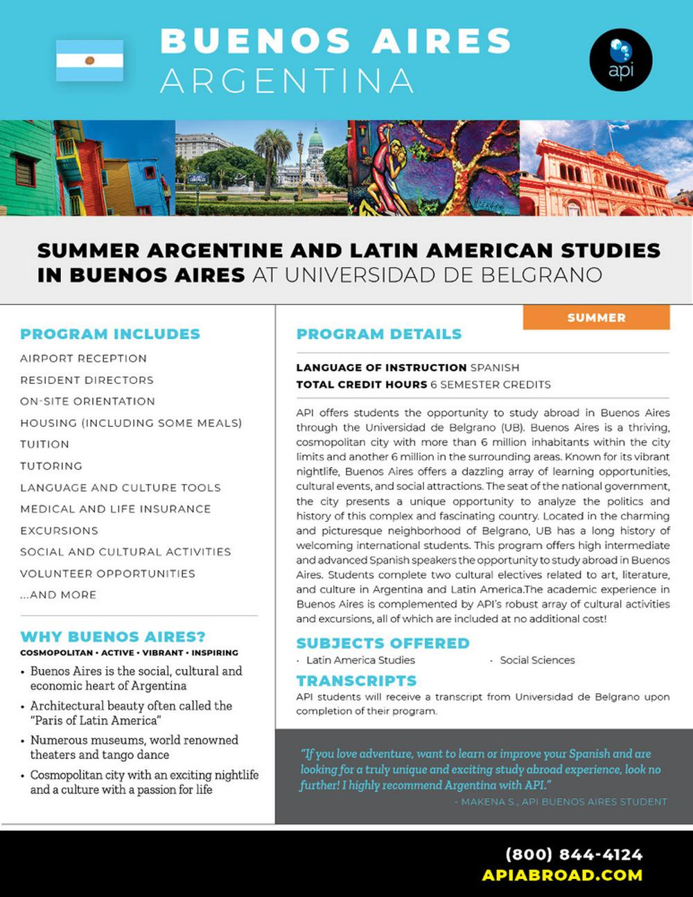 Summer Argentine and Latin Ame