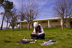 AUB student enjoying a retreat on the Farm